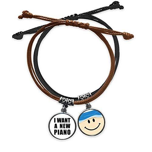 Bestchong I Want A New Piano Art Deco Geschenk Fashion Armband Seil Hand Kette Leder lächelndes Gesicht Armband