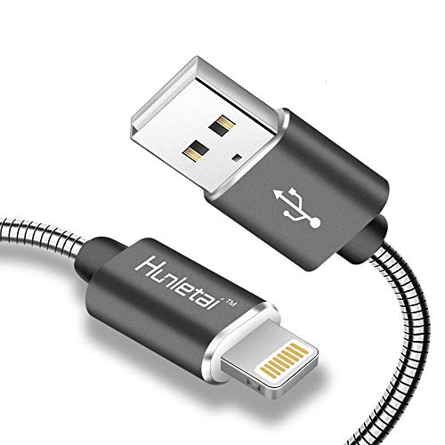 Hunletai Cavo iPhone Cavo Lightning [Certificato Apple MFi] Metallo Intrecciato Caricabatterie per iPhone XS/XR/X Max /8/8 Plus /7/7 Plus /6 /6S /5 /5S, iPad, iPod - Grigio, 1M/3,3ft