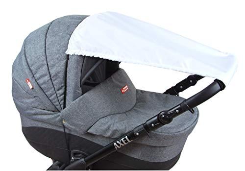 BABYLUX Sonnenschutz UV Rollo Schütz SONNENSEGEL Sonnendach für Kinderwagen Buggy (Weiß)