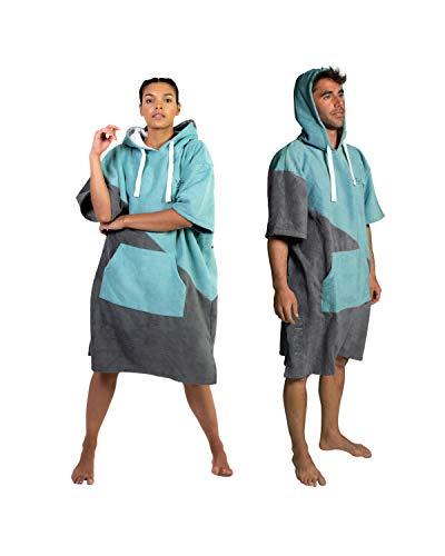 Vivida Lifestyle – Premium Poncho Handtuch mit Waffle-Kapuze Quickdry Fabric und Easy Underarm Access, Große Tasche mit Reisverschluss für den Strand, zum Surfen & Schwimmen (M-L, Grau-Blau)
