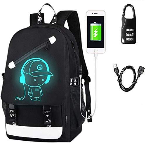 Luminous Daypack Haben Diebstahlsicheren Zahlenschloss Rucksack, Schultaschen Daypack Mit USB-Ladeanschluss Laptop-Tasche Handtasche Für Jungen Mädchen