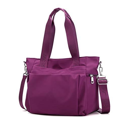 POPOTI Bolso Bandolera Mujeres, Bolsas de Hombro Mano Nylon Impermeable Totalizador del Monedero Mochila Escolar Portátil Billetera Multifuncional Crossbody Bag (Púrpura)