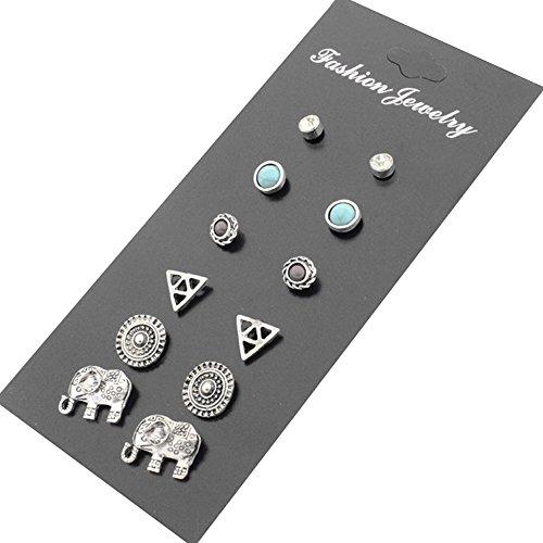 Pinzhi 6 Paar Kleine niedliche einfache Ohrringe Silber Ton Set