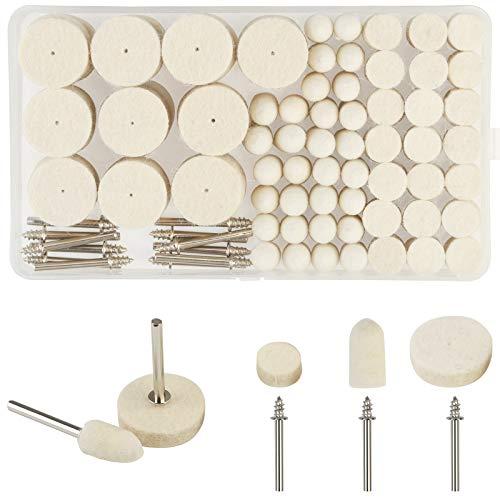 KAKOO Filz Polieraufsatz Set 123tlg Polierscheibe Polierköpfe Drehwerkzeug Zubehör zum Holz Schmuck Polieren Reinigen mit 3mm Schaft Aufbewahrungsbox - für Dremel Multifunktionswerkzeug