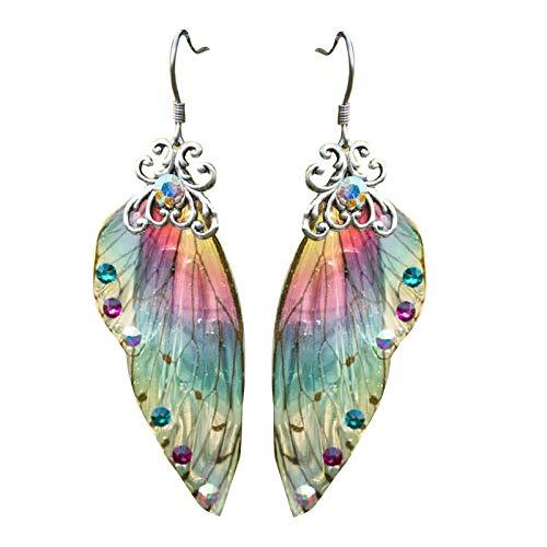guoYL26sx Coloridos pendientes de ala de Cicada con diamante de imitación degradado de color acrílico pendiente de ala colgante de joyería para mujeres
