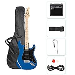 【PERFECT GIFTS】- Best choice for yourself or as a gift for your dear friends. A perfect solution for beginners who want to learn to play guitar. 【COMPLETE ACCESSORIES】- Come with 1x electric guitar, 1 x Amplifier, 1 x Guitar Bag, 1×Shoulder Strap, 2 ...