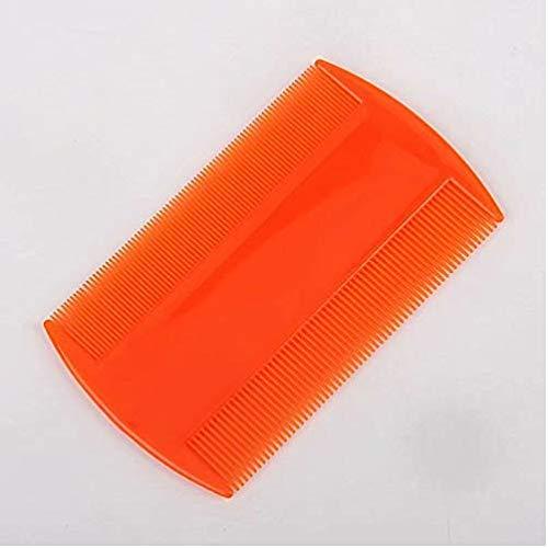 Fournitures pour animaux domestiques Peigne à dents double en plastique à dents anti-puces Peigne pour chien Pince à épiler Orange