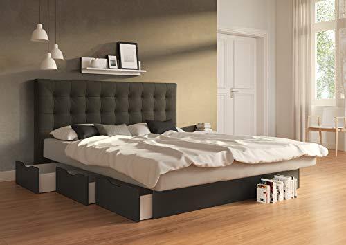 SuMa - Wasserbetten 200x200 dual Schubkasten Wasserbett schwarz und Kopfteil Nuevo, Farbe anthrazit 200x200 cm in 11 Farben