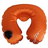 B Blesiya Cojín hinchable plegable e impermeable para el cuello y el reposacabezas, para camping, viaje, color naranja