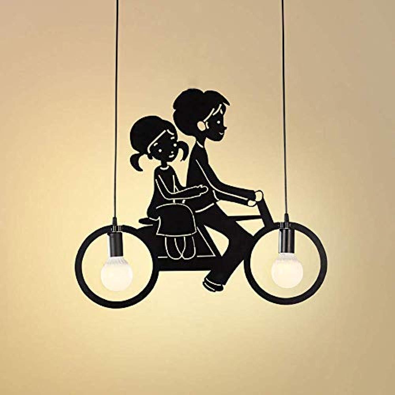 CHHQ Schmiedeeisen Kronleuchter, Moderne minimalistische Fahrrad 2-Licht Kronleuchter für Schlafzimmer Wohnzimmer Loft Restaurant