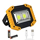 LXH-SH Tira de luz LED Foco portátil COB Lámpara de Trabajo Luz de la lámpara para el Campamento Caza Linterna Linterna Floodlight USB Recargable 18650 Batería Tira de luz (Body Color : No Battery)