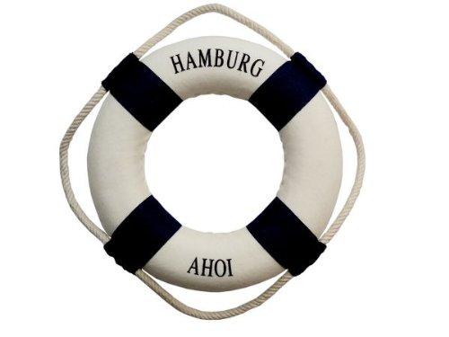 City Souvenir Shop Deko-Rettungsring Hamburg AHOI blau, klein 14cm