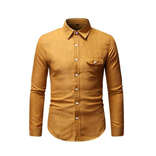 Camisa de Bolsillo con Costuras de Solapa de Color sólido para Hombre, Camisa de Manga Larga Informal Simple con Botones de Todo fósforo, Blusas de Moda 4XL