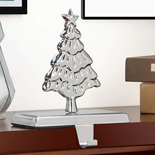 QinYing 6.03' Christmas Pine Tree Shiny Silver Christmas Stocking Holders for Fireplace Mantle Stand Hanger Sturdy Metal Christmas Decorations