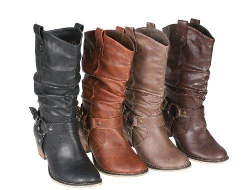 Refresh Wild-02 Cowboystiefel für Damen im Western-Stil, Braun (braun), 42 EU