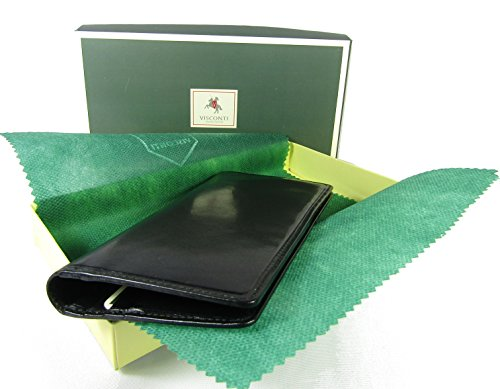 New top of The Range Visconti Italian Glazed Leather Turin Breast Pocket Wallet Money Bag Style MZ-6 (Black)