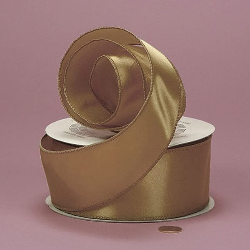 Old Gold Cast-Over Wired Satin Ribbon, 2-1/2