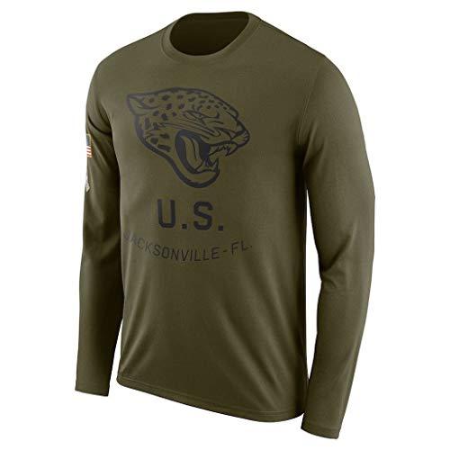 YUNMO Rugby Saison langärmelige Kapuzenpullover Jacksonville Jaguar-Fußball-Basketball Sportswear Fitness Jersey (Color : Green, Size : S)