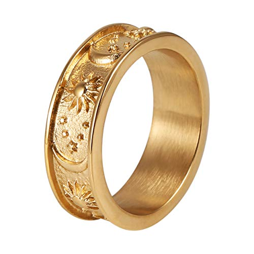 HZMAN 8mm Moon Star Sun Statement Ring Stainless Steel Boho Jewelry for Women Men (Gold, 9)