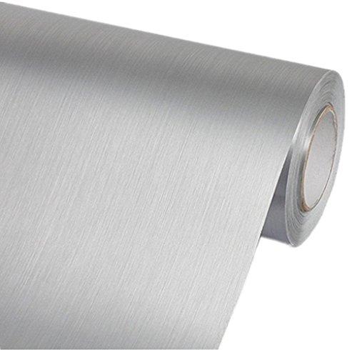 Amao Abziehen und Aufkleben aus Edelstahl, Selbstklebende Vinylfolie für Backsplash Tisch Arbeitsplatte 39,9 x 19,7 cm