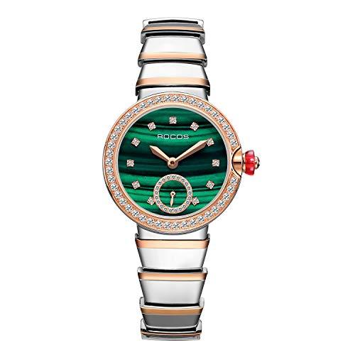 Reloj de Pulsera Automático para Mujer con Esfera Verde y Joyas Reloj Mecánico Cristal Zafiro Acero Inoxidable Elegante Caja 32mm