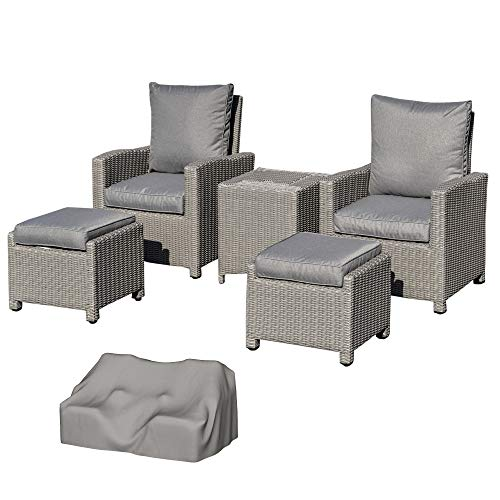 Outsunny 5 Pieces Rattan Garden Furniture Patio Lounge Sofa Chair Footstool Cooler Bar Coffee Table with Olefin Cushion & Cover