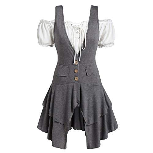 Damesjurk, borstband, korte mouwen, bovendeel wit met grijze knoopgat, onregelmatige jurk, schoudervrij, bureaujurk, werkkleding, L, Metálico