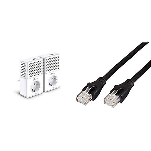 TP-Link TL-PA7010P Kit - 2 Adaptadores de Comunicación por Línea Eléctrica + AmazonBasics - Cable de Red Ethernet con Conectores RJ45 (Cat. 6, 1000 Mbit/s, 1,5m)