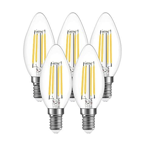 Luxvista E14 C35 Lampadina a Filamento LED Dimmerabile 4W, Lampada Decorativa a Candela Stile Edison Vintage con 350lm (Bianca Calda 2700K, 5 Pezzi)