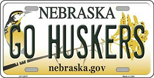 Inga New Sign go huskers nebraska state background novelty license plate 6x12 inches License Plate Sign
