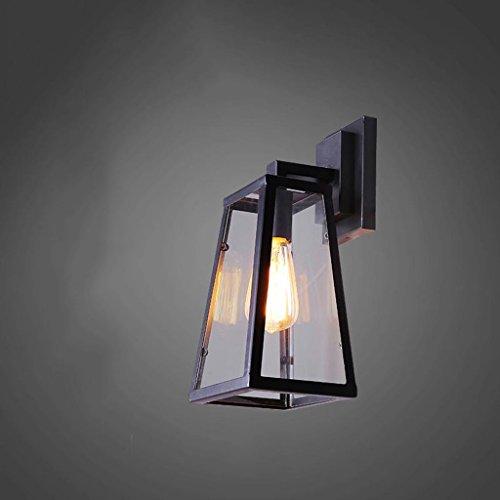 Style américain lampe murale loft rétro style industriel restaurant bar allées lumières Applique murale Applique murale en verre fer créatif extérieur lampe (17 * 14 * 27) cm