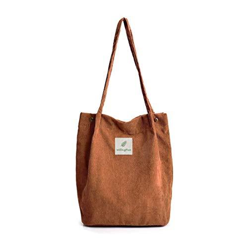 Hallolife Cord Tasche Damen Umhängetasche Shopper Casual Handtasche groß Chic Schulrucksack für Alltag Büro Schulausflug Einkauf, 28 x 34x 14cm