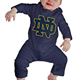 University of Notre Dame Nd Baby Girl Boy Clothes Bodysuits Long Sleeve Romper Jumpsuit Navy