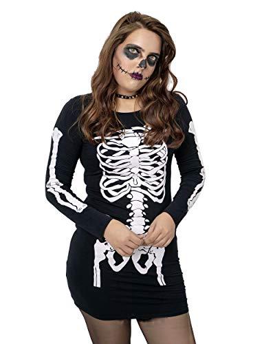 NOROZE Damen Halloween Kleid Im dunklen Skelett leuchten Oberteil Knochen Lustig Kostüm Party Tunika Tee (44-46, Skelett Schwarz)