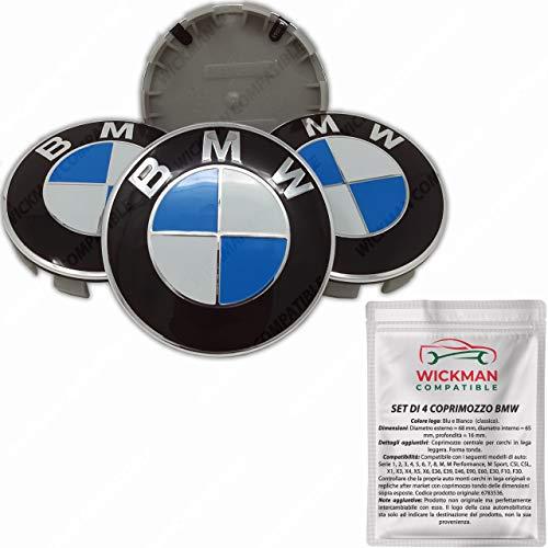 Juego de 4 tapas para tapacubos compatibles con BMW, color azul y blanco, 68 mm de diámetro, gestionadas y enviadas desde Italia