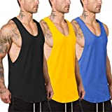 Muscle Killer 3 Pack Men's Muscle Gym Workout Stringer Tank Tops Bodybuilding Fitness T-Shirts (Black+Yellow+Blue, Small)