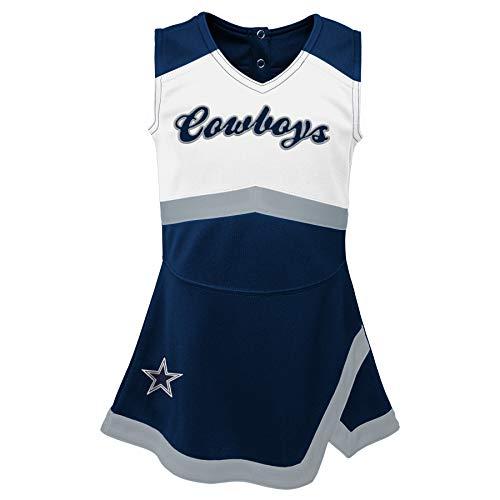 Dallas Cowboys NFL Youth Girls Cheer Captain Cheerleader Jumper Dress, Navy/White, L