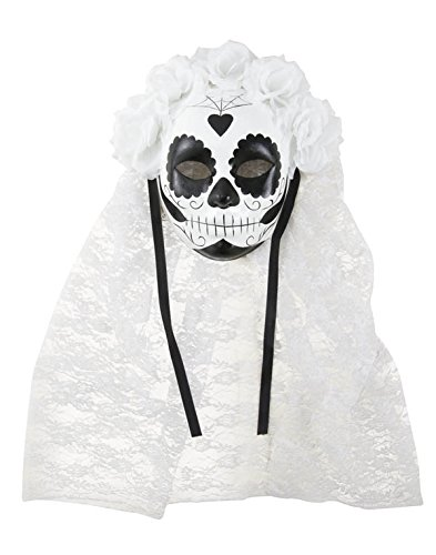 P 'Tit Clown Masker voor volwassenen 38071 papier Maché - Dag van de doden - Nr en Voilette wit één maat