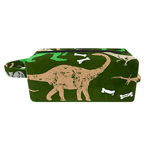Borsa da bagno Con maniglia Beauty case per uomini donne bambini borsetta da viaggio Durevole Borsa da toilette per valigia bagagli a mano Dinosauro dei cartoni animati 21x8x9 cm