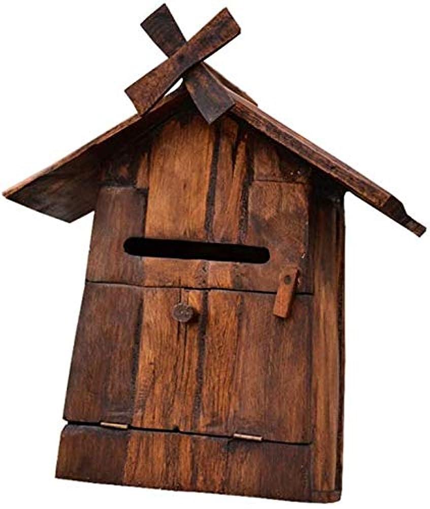 発行する女将概してメールボックス 郵便受け 壁掛け メールボックスポストボックスソリッドウッド風車メールボックスのご意見ご感想苦情ボックスヴィラ防水レターボックスウォールマウント 1107