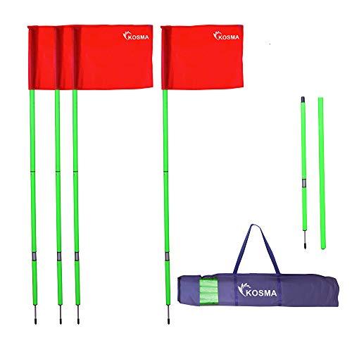 Kosma Faltbare Eckfahnen mit Befestigungsspieß und Feder, grüner Mast, 1,5 m x 25 mm, mit roter Flagge, in Tragetasche, 4 Stück