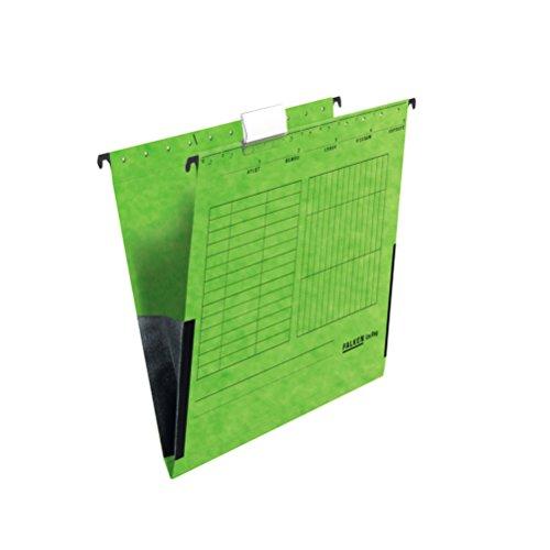 Falken 80004435, Cartelle sospese A4 con protezioni per i bordi, Verde, Confezione da 25