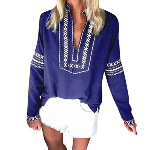 Feytuo Damen Top Retro Elegant Shirt Muster Frauen Böhmen Oberteil Herbst Winter 2019 Blusen Herbst Winter Sales T-Shirts Günstig Sweatshirts Schön Outwear