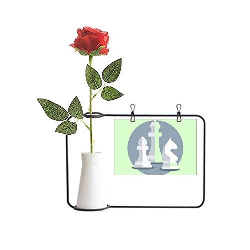 OFFbb-USA Intellect Mentality Chess Pieces Artificial Rose Flower Hanging Floreros Decoración Botella