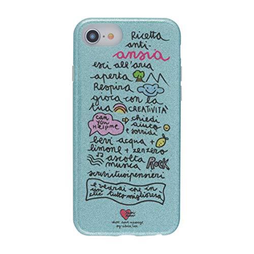 tum tum by silvia tosi Cover Custodia Compatibile con iPhone 8/7/6s/6 - Antiurto ed AntiGraffio - Retro di Glitter Azzurri - Protezione Frontale rialzata - Flessibile e Slim -Protezione Tasti
