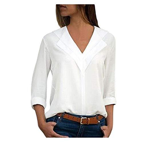 Chemisier Femme Dentelle Tunique Haut Femme Chic Manches Longues Tops Blouse Pull Col Rond Patchwork T Shirt Casual T-Shirt Chemisier Blouse Covermason (Blanc#5, L)