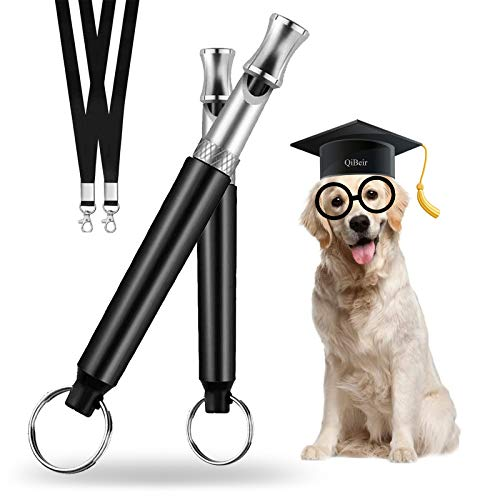 Dog Whistle to Stop Barking, Effective Silent Barking Control Dog Training Device, Adjustable Ultrasonic Frequency Behavior Training Tool 2 Pack with 2 Free Trainer Aid Lanyards