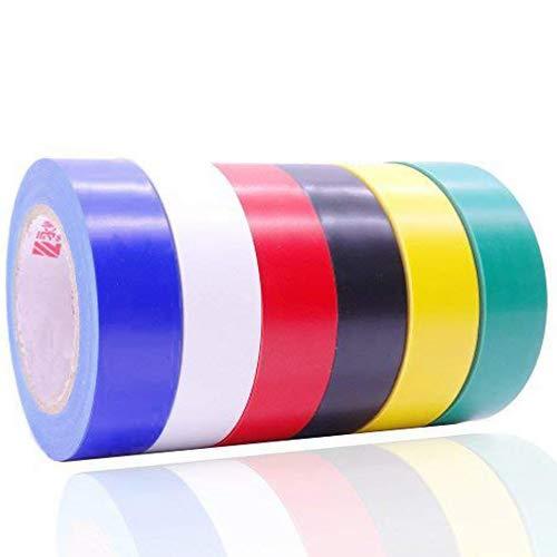 ビニールテープ,HoryKu(ホーリク) 6色入電気絶縁テープ ハーネステープ 耐熱 テープ 17mm x 9m
