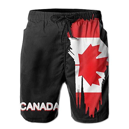 yting Canada Maple Flag Herren Sommerstrand Schnelltrocknende Badehose Boardshorts Cargohose, Größe M.