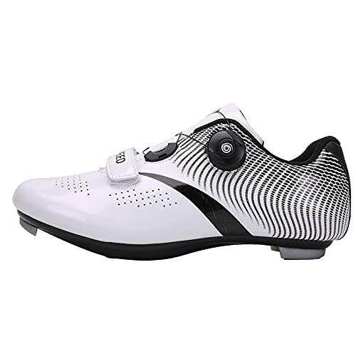 Fei Mei Calzado de Ciclismo de Carretera Compatible con SPD/SPD-SL para Hombre, Tacos de MTB con Doble trinquete, Ciclismo de Ejercicio, Transpirable, Estable, cómodo
